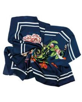 Exotic flower Scarf in Navy
