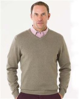 Cotton Taupe V Neck Sweater