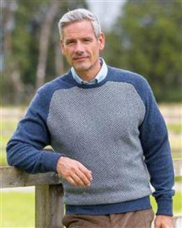 Herringbone Denim Lambswool Sweater