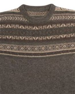 Brown Crew Neck Fairisle Sweater