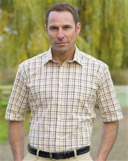 Pure Cotton Short Sleeve Casual Check Shirt