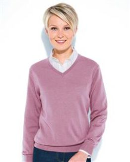 Merino Wool Dusky Pink V Neck Sweater