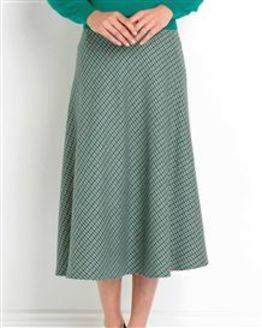 Hexham Checked Wool Blend Bias Skirt