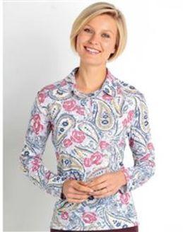 Barbara Multi Coloured Pure Cotton Long Sleeve Polo