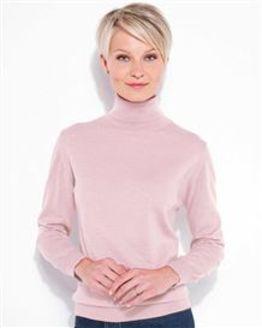 Merino Light Pink Roll Neck Sweater