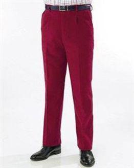 Maroon Moleskin Trousers  Mens