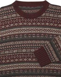 Burgundy Shetland Fairisle Crew Neck Sweater Mens