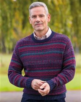 Navy Shetland Fairisle Crew Neck Sweater Mens