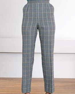 Madeira Wool Blend Checked Pull on Trousers