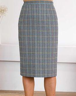 Madeira Wool Blend Checked Straight Skirt