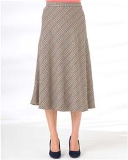 Murcia Wool Blend Checked Skirt