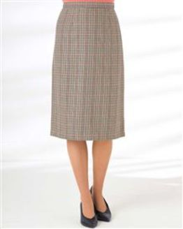 Murcia Wool Blend Checked Straight Skirt