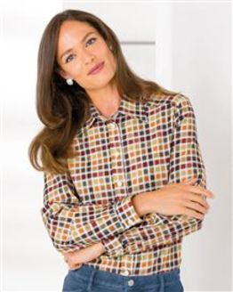 Janet Checked Pure Cotton Blouse