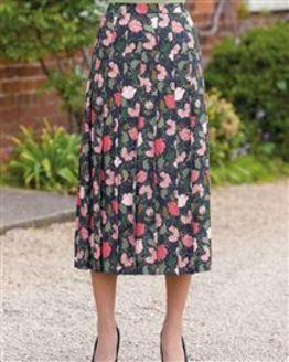 Valerie Floral Supersoft Viscose Knife Pleated Skirt