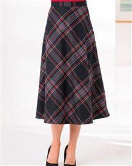 Linton Wool Blend Checked Skirt