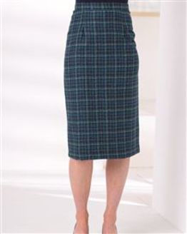 Elsworth Pure Wool Checked Straight Skirt