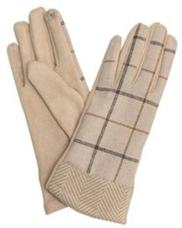 Checked Fabric Gloves