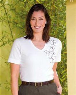 TIGI White Flower Embroidery T-Shirt