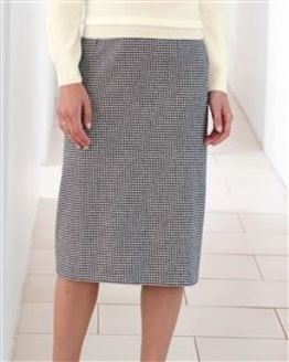 Oxford Checked Wool Mix Straight Skirt