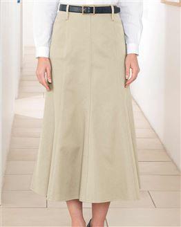 Chino Pure Cotton Twill Flared Skirt