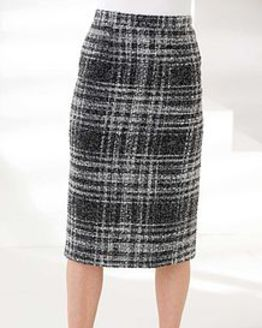 Roseland Classic boucle Check Straight Skirt
