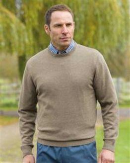Cotton Taupe Crew Neck Sweater