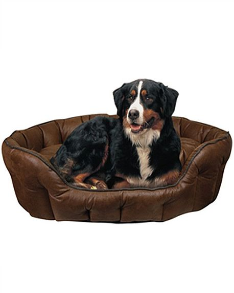 Faux Leather Basket Dog Bed