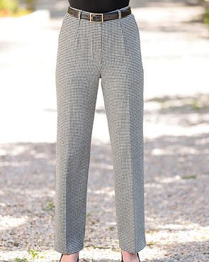 Oxford Black And White Checked Wool MixTrousers