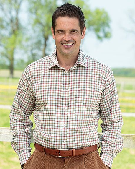 Tattersall Check Pure Cotton Twill Long Sleeve Shirt in Red and Green