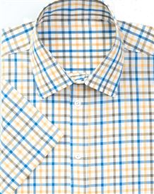 Pure Cotton Short Sleeve Blue Gold and White Check Shirt