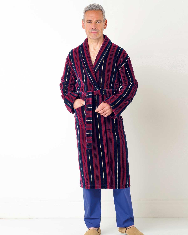 Mens multi coloured Stripe Velour Dressing Gown. Machine Washable.