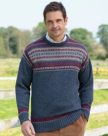 Mid Blue Crew Neck Fairisle Sweater - Mens