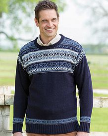 Navy Crew Neck Fairisle Sweater
