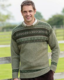 Pale Green Crew Neck Fairisle Sweater - Mens