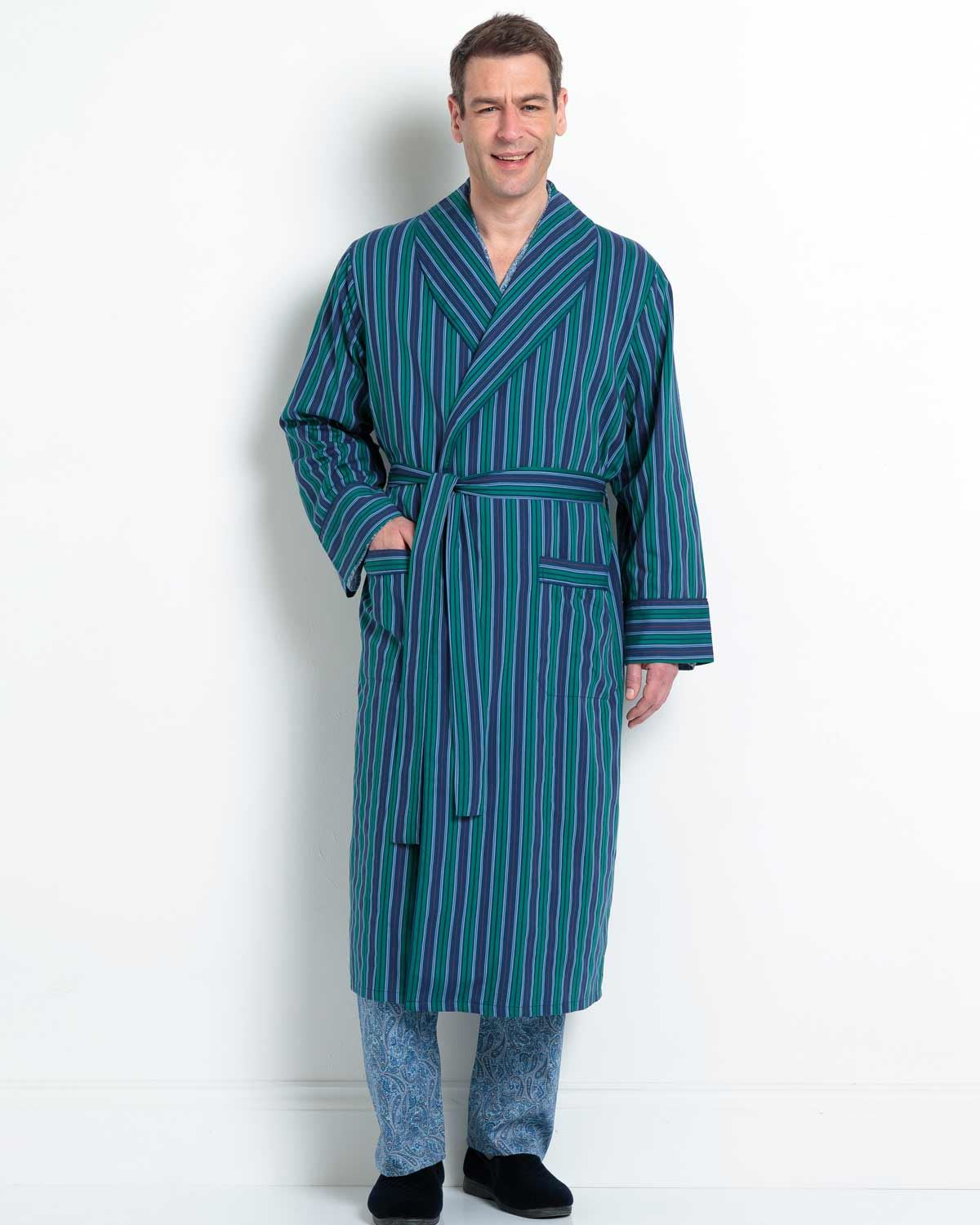 Mens Cotton Strpe Dressing Gown. Blue and greeen stripe design.