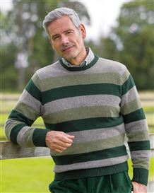 Lambswool Striped Crew Neck