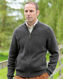 Lambswool Zip Front Cardigan  Mens