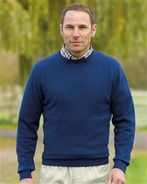 Cotton Navy Crew Neck Sweater