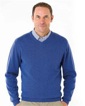 Cotton Sky Blue V Neck Sweater