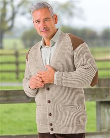 Natural Fishermans Rib Cardigan - Mens