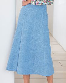 Sorrento Pure Wool Blue Marl Skirt