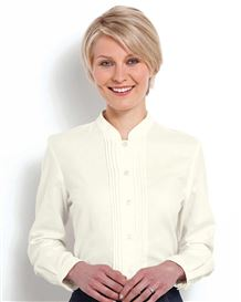Pintuck Cream Cotton And Wool Mix Blouse