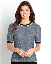 Claudia Navy And White Wool Mix Short Sleeve Sweater