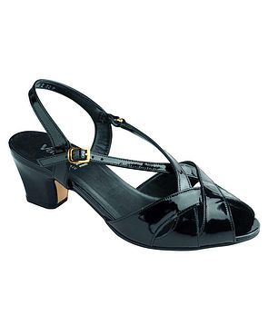 Libby II Leather Sandal - Black patent