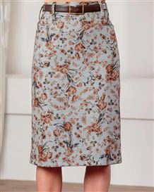 Carla Poly Mix Floral Straight Skirt