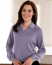 Heather Merino Collared V Neck