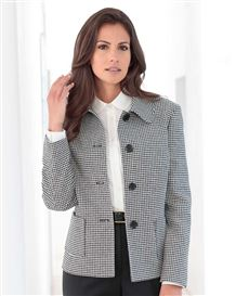 Oxford Black And White Checked Wool Mix Jacket