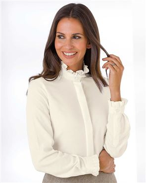 Ruffle Wool Mix Cream Blouse