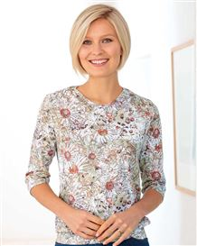 Theresa Floral Silky Cotton Blouson Top