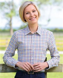 Ladies Country Check Shirt in Purple and Toffee